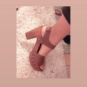 Italian leather and wooden platform sandal heel
